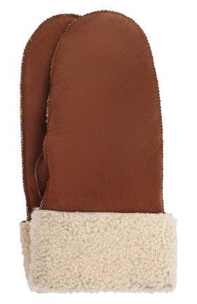 Женские меховые варежки DROME коричневого цвета, арт. DPA206P/DA2082   Фото 1 (Материал: Натуральный мех; Женское Кросс-КТ: варежки)