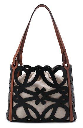 Женский сумка-тоут anagram small LOEWE черного цвета, арт. A821Q05X01   Фото 1 (Материал: Натуральная кожа; Сумки-технические: Сумки-шопперы; Размер: small)