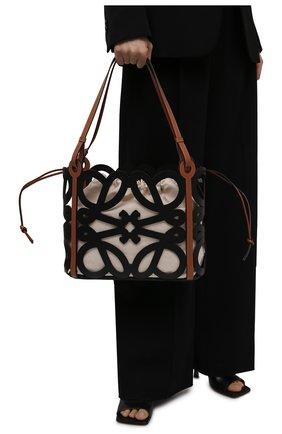 Женский сумка-тоут anagram small LOEWE черного цвета, арт. A821Q05X01   Фото 2 (Материал: Натуральная кожа; Сумки-технические: Сумки-шопперы; Размер: small)