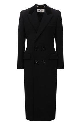 Женское шерстяное пальто SAINT LAURENT черного цвета, арт. 661315/Y5B58 | Фото 1 (Материал подклада: Купро; Длина (верхняя одежда): Длинные; Материал внешний: Шерсть; Рукава: Длинные; Стили: Гламурный; 1-2-бортные: Двубортные)