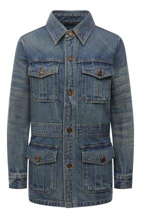Женская джинсовая куртка SAINT LAURENT голубого цвета, арт. 659616/Y863C   Фото 1 (Материал внешний: Хлопок; Длина (верхняя одежда): Короткие; Рукава: Длинные; Стили: Кэжуэл; Кросс-КТ: Деним, Куртка)
