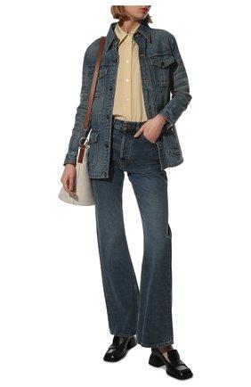 Женская джинсовая куртка SAINT LAURENT голубого цвета, арт. 659616/Y863C   Фото 2 (Материал внешний: Хлопок; Длина (верхняя одежда): Короткие; Рукава: Длинные; Стили: Кэжуэл; Кросс-КТ: Деним, Куртка)