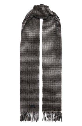Женский шарф из кашемира и шерсти SAINT LAURENT серого цвета, арт. 669853/3Y944 | Фото 1 (Материал: Кашемир, Шерсть)