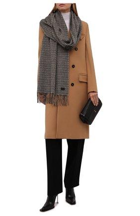 Женский шарф из кашемира и шерсти SAINT LAURENT серого цвета, арт. 669853/3Y944 | Фото 2 (Материал: Кашемир, Шерсть)