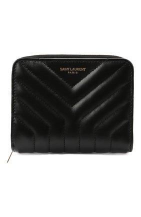 Женские кожаный кошелек SAINT LAURENT черного цвета, арт. 668323/DV701 | Фото 1