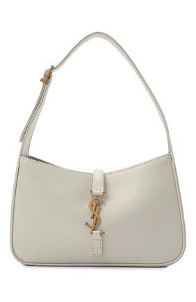 Женская сумка le 5 à 7 SAINT LAURENT кремвого цвета, арт. 657228/2R20W | Фото 1 (Материал: Натуральная кожа; Размер: small; Сумки-технические: Сумки top-handle)