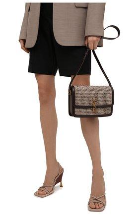 Женская сумка solferino ysl lock SAINT LAURENT бежевого цвета, арт. 634305/24Y1W | Фото 2 (Ремень/цепочка: На ремешке; Материал: Текстиль; Размер: small; Сумки-технические: Сумки через плечо)