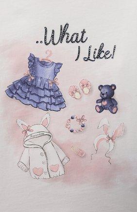 Детский хлопковый лонгслив MONNALISA белого цвета, арт. 318620PV | Фото 3 (Рукава: Длинные; Материал внешний: Хлопок; Ростовка одежда: 12 мес | 80 см, 18 мес | 86 см)