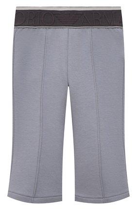 Детские хлопковые брюки EMPORIO ARMANI серого цвета, арт. 6KEP07/1JHSZ   Фото 1 (Материал внешний: Хлопок; Ростовка одежда: 9 мес   74 см, 12 мес   80 см, 24 мес   92 см, 36 мес   98 см)