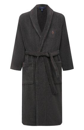 Мужской хлопковый халат POLO RALPH LAUREN серого цвета, арт. 714852627 | Фото 1 (Кросс-КТ: домашняя одежда; Материал внешний: Хлопок; Длина (верхняя одежда): Длинные; Рукава: Длинные)