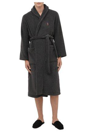 Мужской хлопковый халат POLO RALPH LAUREN серого цвета, арт. 714852627 | Фото 2 (Кросс-КТ: домашняя одежда; Материал внешний: Хлопок; Длина (верхняя одежда): Длинные; Рукава: Длинные)