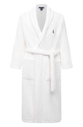 Мужской хлопковый халат POLO RALPH LAUREN белого цвета, арт. 714852627 | Фото 1 (Материал внешний: Хлопок; Кросс-КТ: домашняя одежда; Длина (верхняя одежда): Длинные; Рукава: Длинные)