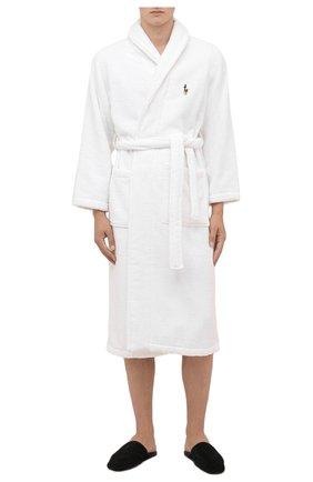 Мужской хлопковый халат POLO RALPH LAUREN белого цвета, арт. 714852627 | Фото 2 (Материал внешний: Хлопок; Кросс-КТ: домашняя одежда; Длина (верхняя одежда): Длинные; Рукава: Длинные)