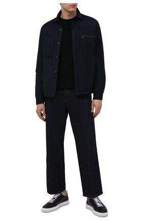Мужская утепленная рубашка Z ZEGNA темно-синего цвета, арт. 205821/ZC0T8 | Фото 2 (Материал подклада: Синтетический материал; Материал внешний: Шерсть; Случай: Повседневный; Принт: Однотонные; Рукава: Длинные; Манжеты: На кнопках; Воротник: Кент; Стили: Кэжуэл; Длина (для топов): Стандартные)