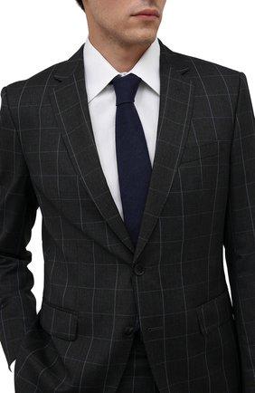 Мужской галстук из шерсти и шелка LUIGI BORRELLI темно-синего цвета, арт. CR361132/L0NG | Фото 2 (Материал: Шерсть; Принт: Без принта)