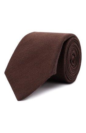 Мужской галстук из шерсти и шелка LUIGI BORRELLI коричневого цвета, арт. CR361132/L0NG | Фото 1 (Материал: Шерсть; Принт: Без принта)