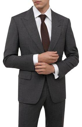 Мужской галстук из шерсти и шелка LUIGI BORRELLI коричневого цвета, арт. CR361132/L0NG | Фото 2 (Материал: Шерсть; Принт: Без принта)