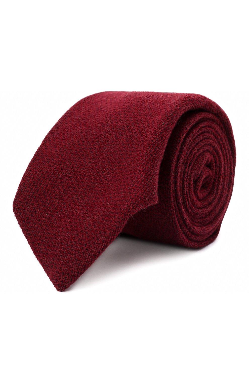 Мужской галстук из шерсти и шелка LUIGI BORRELLI бордового цвета, арт. CR361134 | Фото 1 (Принт: Без принта; Материал: Шерсть)