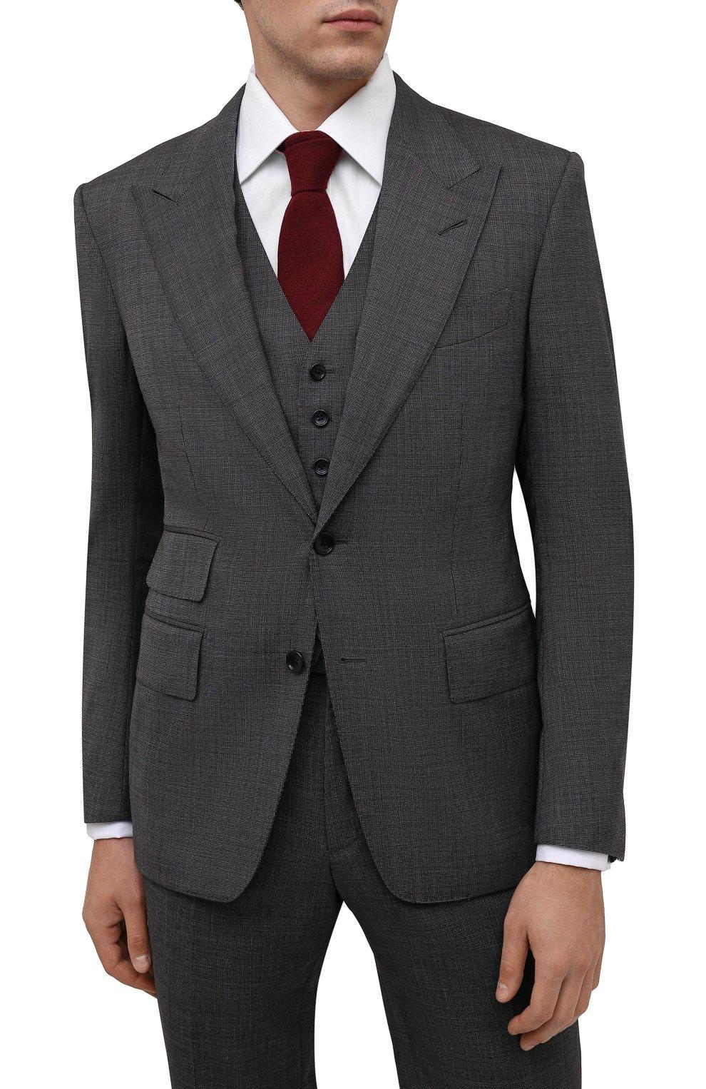 Мужской галстук из шерсти и шелка LUIGI BORRELLI бордового цвета, арт. CR361134 | Фото 2 (Принт: Без принта; Материал: Шерсть)