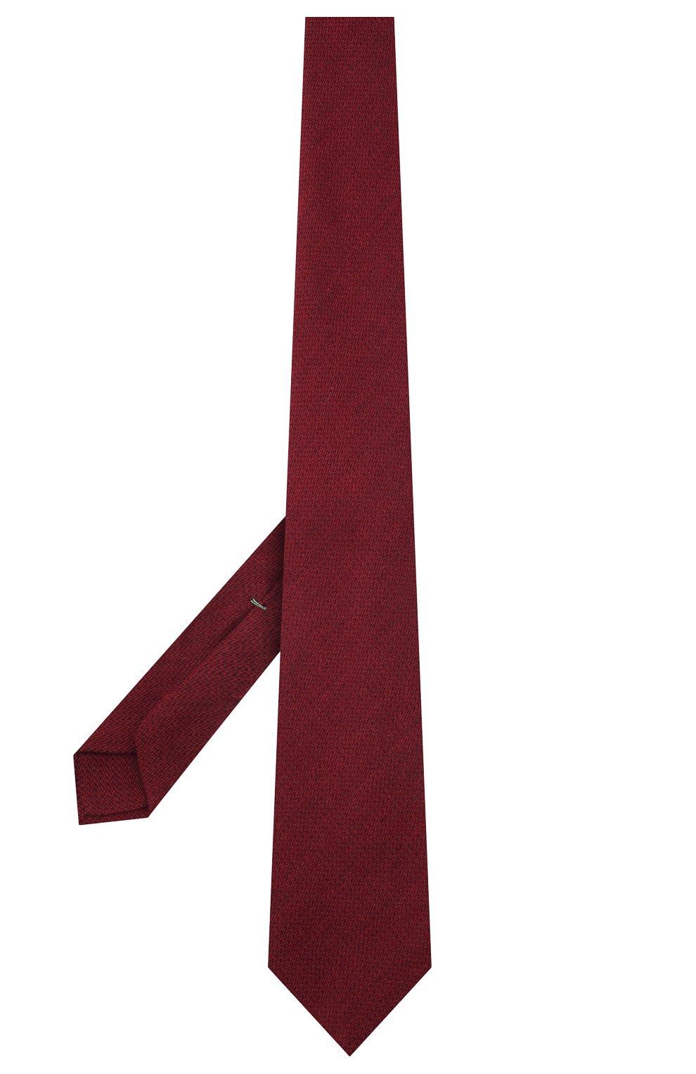 Мужской галстук из шерсти и шелка LUIGI BORRELLI бордового цвета, арт. CR361134 | Фото 3 (Принт: Без принта; Материал: Шерсть)
