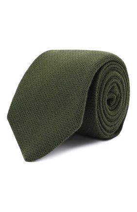 Мужской галстук из шерсти и шелка LUIGI BORRELLI зеленого цвета, арт. CR361134 | Фото 1 (Материал: Шерсть; Принт: Без принта)