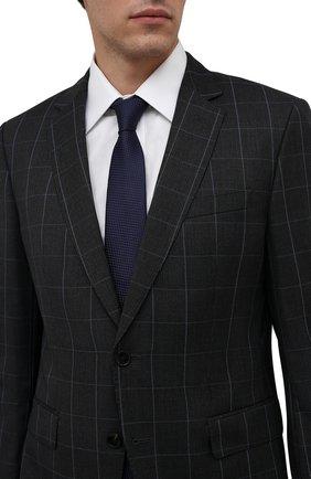 Мужской шелковый галстук LUIGI BORRELLI темно-синего цвета, арт. CR361170 | Фото 2 (Материал: Текстиль, Шелк; Принт: Без принта)