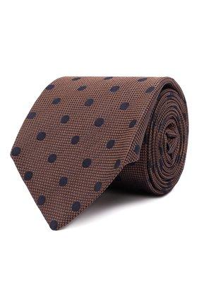 Мужской шелковый галстук LUIGI BORRELLI светло-коричневого цвета, арт. CR361176 | Фото 1 (Материал: Текстиль, Шелк; Принт: С принтом)