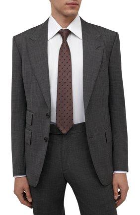Мужской шелковый галстук LUIGI BORRELLI светло-коричневого цвета, арт. CR361176 | Фото 2 (Материал: Текстиль, Шелк; Принт: С принтом)