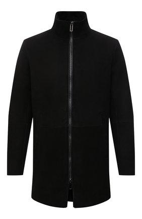 Мужская дубленка EMPORIO ARMANI черного цвета, арт. 01L50P/01P55 | Фото 1 (Длина (верхняя одежда): До середины бедра; Рукава: Длинные; Материал внешний: Натуральный мех; Стили: Кэжуэл)