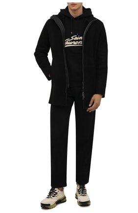 Мужская дубленка EMPORIO ARMANI черного цвета, арт. 01L50P/01P55 | Фото 2 (Длина (верхняя одежда): До середины бедра; Рукава: Длинные; Материал внешний: Натуральный мех; Стили: Кэжуэл)