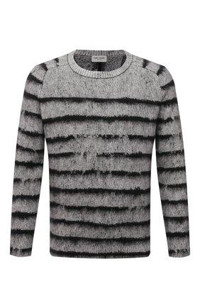 Мужской свитер SAINT LAURENT серого цвета, арт. 665838/Y75BX | Фото 1 (Длина (для топов): Стандартные; Материал внешний: Шерсть; Рукава: Длинные; Мужское Кросс-КТ: Свитер-одежда; Стили: Кэжуэл; Принт: С принтом)