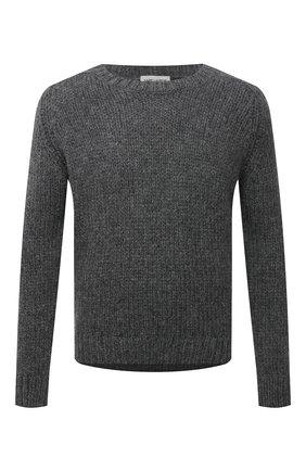 Мужской шерстяной свитер SAINT LAURENT серого цвета, арт. 665677/Y75BZ   Фото 1 (Материал внешний: Шерсть; Рукава: Длинные; Длина (для топов): Стандартные; Мужское Кросс-КТ: Свитер-одежда; Стили: Кэжуэл; Принт: Без принта)