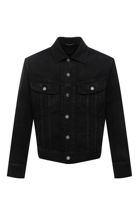 Мужская джинсовая куртка SAINT LAURENT черного цвета, арт. 660464/Y19LA   Фото 1 (Материал внешний: Хлопок; Длина (верхняя одежда): Короткие; Рукава: Длинные; Кросс-КТ: Куртка, Деним; Стили: Гранж)