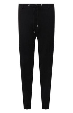 Мужские джоггеры MONCLER черного цвета, арт. G2-091-2A000-20-595FM | Фото 1 (Материал внешний: Хлопок, Синтетический материал; Силуэт М (брюки): Джоггеры; Стили: Спорт-шик; Длина (брюки, джинсы): Стандартные)