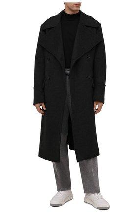 Мужские брюки из кашемира и шерсти ZEGNA COUTURE серого цвета, арт. 287146/630SNP | Фото 2 (Длина (брюки, джинсы): Стандартные; Материал внешний: Шерсть, Кашемир; Случай: Повседневный; Стили: Кэжуэл)