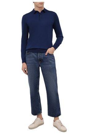 Мужское шерстяное поло BOSS синего цвета, арт. 50435428 | Фото 2 (Материал внешний: Шерсть; Застежка: Пуговицы; Стили: Кэжуэл; Кросс-КТ: Трикотаж; Рукава: Длинные; Длина (для топов): Стандартные)
