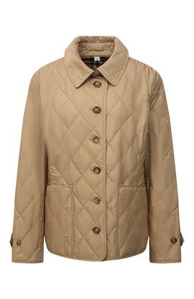 Женская утепленная куртка BURBERRY бежевого цвета, арт. 8023321   Фото 1 (Рукава: Длинные; Длина (верхняя одежда): Короткие; Материал подклада: Хлопок; Материал внешний: Синтетический материал; Кросс-КТ: Куртка; Стили: Кэжуэл)