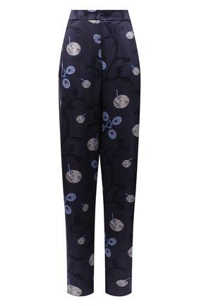 Женские шелковые брюки GIORGIO ARMANI синего цвета, арт. 1WHPP0IR/T02Z5 | Фото 1 (Длина (брюки, джинсы): Удлиненные; Материал внешний: Шелк; Женское Кросс-КТ: Брюки-одежда; Силуэт Ж (брюки и джинсы): Широкие; Стили: Романтичный)