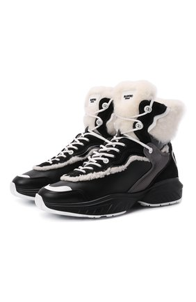 Женские кожаные кроссовки shegoes VALENTINO черного цвета, арт. WW2S0AH6/XZX | Фото 1 (Материал утеплителя: Натуральный мех; Кросс-КТ: хайтопы; Подошва: Платформа)