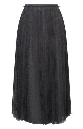 Женская юбка REDVALENTINO серого цвета, арт. WR0RAC20/428   Фото 1 (Материал внешний: Синтетический материал; Материал подклада: Синтетический материал; Длина Ж (юбки, платья, шорты): Миди; Женское Кросс-КТ: Юбка-одежда; Стили: Романтичный)