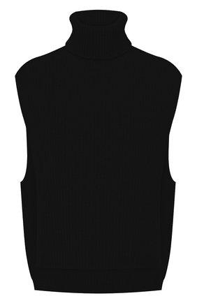 Женский шерстяной жилет DRIES VAN NOTEN черного цвета, арт. 212-012208-3703   Фото 1 (Материал внешний: Шерсть; Стили: Кэжуэл; Длина (верхняя одежда): Короткие)