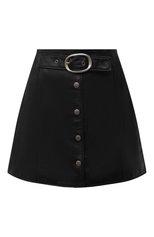 Женская кожаная юбка SAINT LAURENT черного цвета, арт. 664441/YCFC2 | Фото 1 (Длина Ж (юбки, платья, шорты): Мини; Материал подклада: Купро; Женское Кросс-КТ: Юбка-одежда; Стили: Гранж)