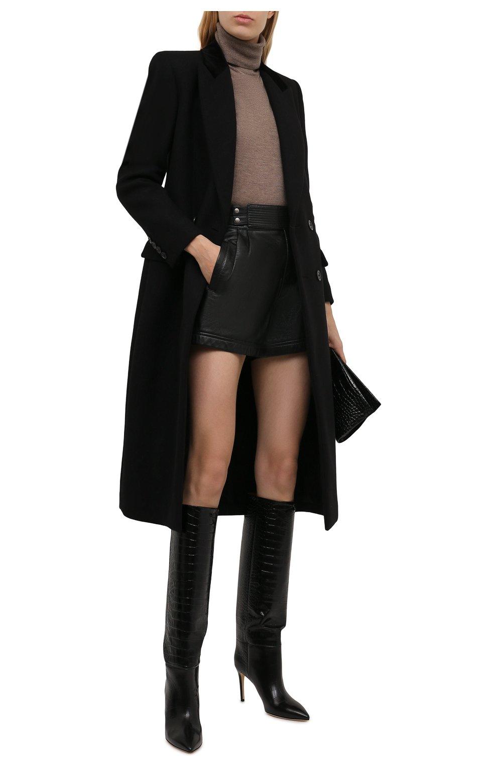 Женские кожаные шорты SAINT LAURENT черного цвета, арт. 660579/YCFC2 | Фото 2 (Женское Кросс-КТ: Шорты-одежда; Длина Ж (юбки, платья, шорты): Мини; Стили: Гранж; Материал подклада: Купро)