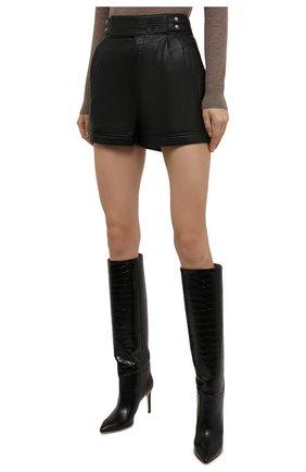 Женские кожаные шорты SAINT LAURENT черного цвета, арт. 660579/YCFC2 | Фото 3 (Женское Кросс-КТ: Шорты-одежда; Длина Ж (юбки, платья, шорты): Мини; Стили: Гранж; Материал подклада: Купро)