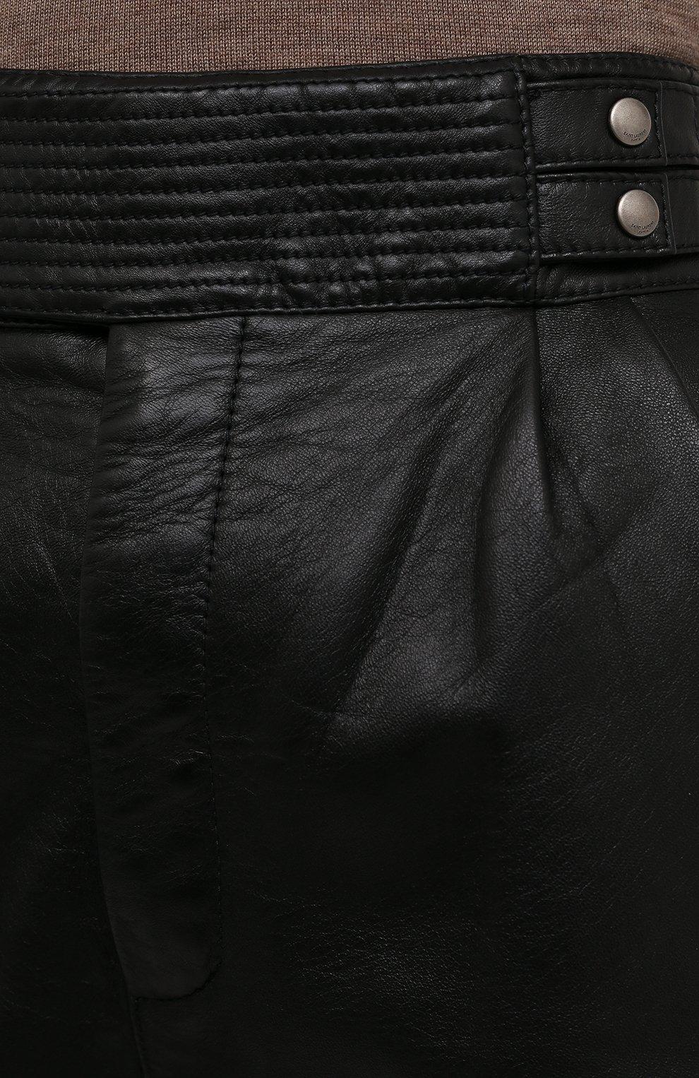 Женские кожаные шорты SAINT LAURENT черного цвета, арт. 660579/YCFC2 | Фото 5 (Женское Кросс-КТ: Шорты-одежда; Длина Ж (юбки, платья, шорты): Мини; Стили: Гранж; Материал подклада: Купро)