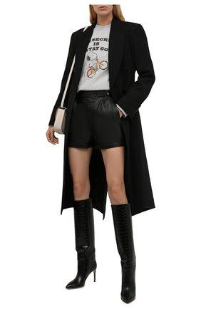 Женский хлопковый свитшот SAINT LAURENT серого цвета, арт. 670882/Y36HT | Фото 2 (Материал внешний: Хлопок; Длина (для топов): Стандартные; Рукава: Длинные; Женское Кросс-КТ: Свитшот-одежда; Стили: Спорт-шик)