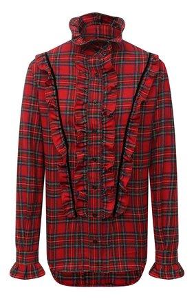 Женская шерстяная блузка SAINT LAURENT красного цвета, арт. 665668/Y24JA | Фото 1 (Рукава: Длинные; Длина (для топов): Стандартные; Материал внешний: Шерсть; Женское Кросс-КТ: Блуза-одежда; Принт: С принтом, Клетка; Стили: Гранж)