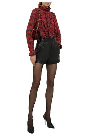 Женская шерстяная блузка SAINT LAURENT красного цвета, арт. 665668/Y24JA | Фото 2 (Рукава: Длинные; Длина (для топов): Стандартные; Материал внешний: Шерсть; Женское Кросс-КТ: Блуза-одежда; Принт: С принтом, Клетка; Стили: Гранж)