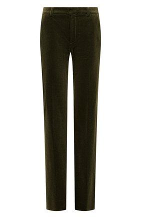 Женские вельветовые брюки SAINT LAURENT хаки цвета, арт. 661321/Y107T   Фото 1 (Материал внешний: Хлопок; Женское Кросс-КТ: Брюки-одежда; Силуэт Ж (брюки и джинсы): Прямые; Длина (брюки, джинсы): Стандартные, Удлиненные; Стили: Кэжуэл)