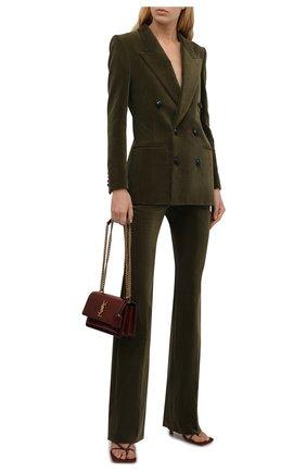 Женские вельветовые брюки SAINT LAURENT хаки цвета, арт. 661321/Y107T   Фото 2 (Материал внешний: Хлопок; Женское Кросс-КТ: Брюки-одежда; Силуэт Ж (брюки и джинсы): Прямые; Длина (брюки, джинсы): Стандартные, Удлиненные; Стили: Кэжуэл)